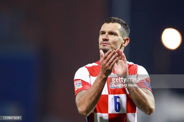 Dejan Lovren of Croatia gestures after the UEFA Nations League Group A3 stage match between Croatia and France at Maksimir Stadium on October 14,...