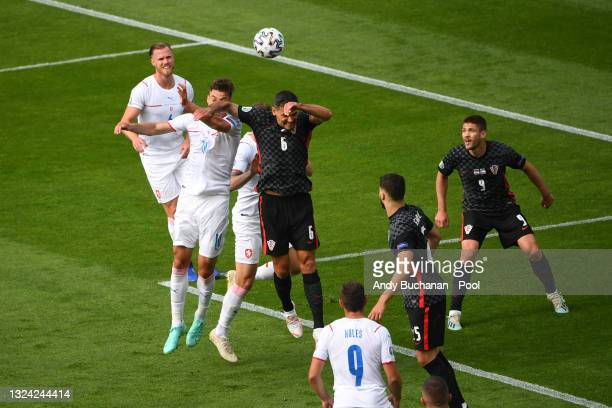 Dejan Lovren of Croatia handles the ball in the area leading to a penalty being awarded during the UEFA Euro 2020 Championship Group D match between...