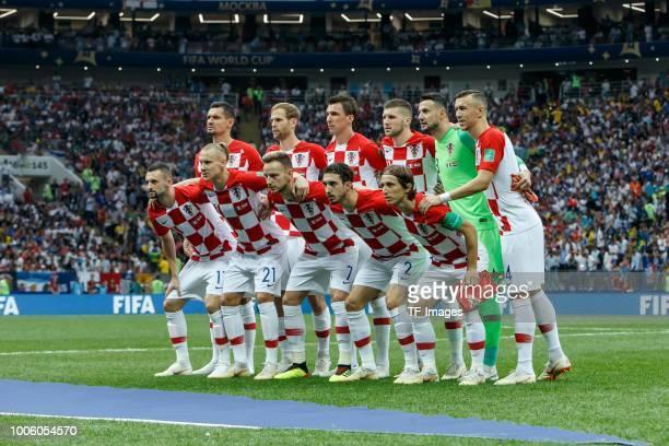 Dejan Lovren of Croatia Ivan Strinic of Croatia Mario Mandzukic of Croatia Ante Rebic of Croatia goalkeeper Danijel Subasic of Croatia Ivan Perisic...