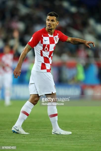 Dejan Lovren of Croatia looks on during the 2018 FIFA World Cup Russia group D match between Croatia and Nigeria at Kaliningrad Stadium on June 16...
