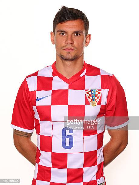 Dejan Lovren of Croatia poses during the official FIFA World Cup 2014 portrait session on June 5 2014 in Salvador Brazil