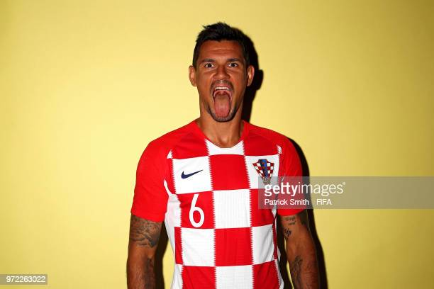 Dejan Lovren of Croatia poses for a portrait during the official FIFA World Cup 2018 portrait session at Woodland Rhapsody Resort on June 12 2018 in...
