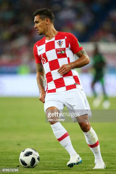Dejan Lovren of Croatia runs with the ball during the 2018 FIFA World Cup Russia group D match between Croatia and Nigeria at Kaliningrad Stadium on...