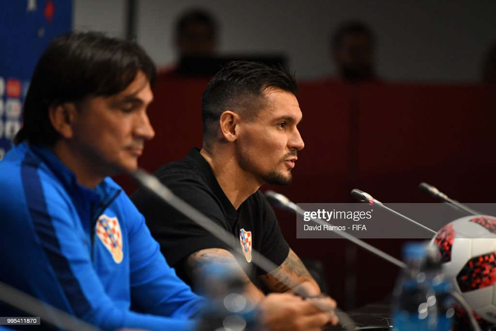 Dejan Lovren of Croatia speaks to media during the Croatia Press Conference at the Luzhniki Stadium on July 10, 2018 in Moscow, Russia.