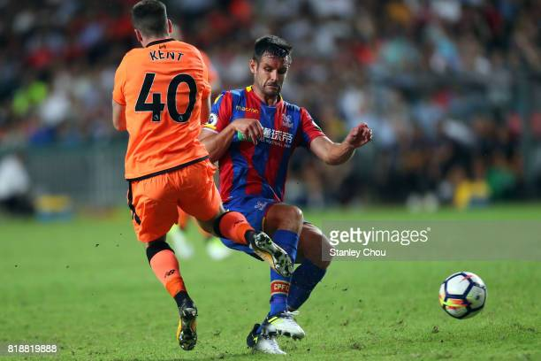 Dejan Lovren of Crystal Palace holds off Ryan Kent of Liverpool during the Premier League Asia Trophy match between Liverpool and Crystal Palace at...
