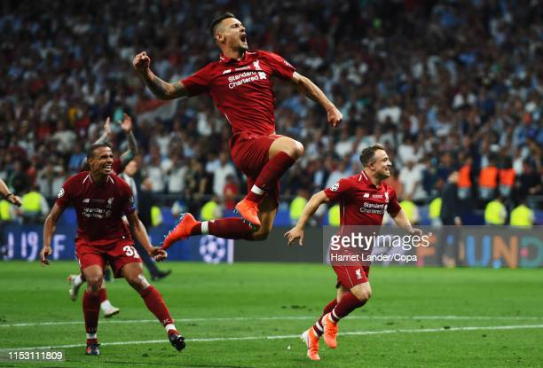 Dejan Lovren of Liverpool and teammates celebrate at full time during the UEFA Champions League Final between Tottenham Hotspur and Liverpool at...