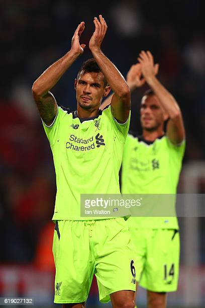 Dejan Lovren of Liverpool applauds the travelling support following the Premier League match between Crystal Palace and Liverpool at Selhurst Park on...