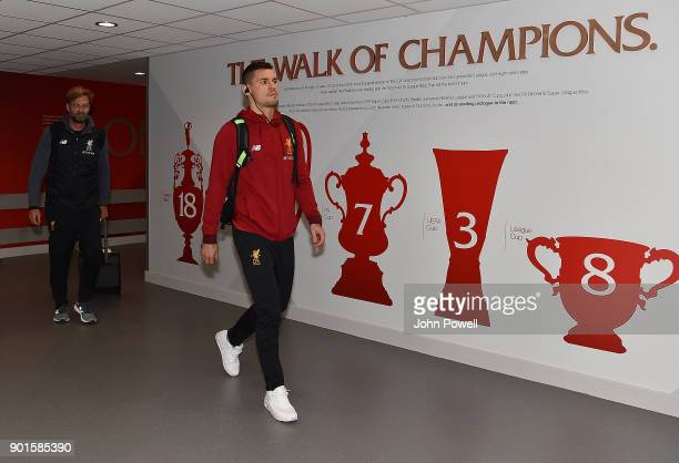 Dejan Lovren of Liverpool arrives before The Emirates FA Cup Third Round match between Liverpool and Everton at Anfield on January 5 2018 in...