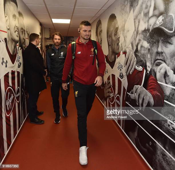 Dejan Lovren of Liverpool arrives before the Premier League match between Southampton and Liverpool at St Mary's Stadium on February 11 2018 in...
