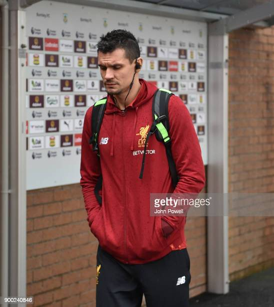 Dejan Lovren of Liverpool arrives for the Premier League match between Burnley and Liverpool at Turf Moor on January 1 2018 in Burnley England