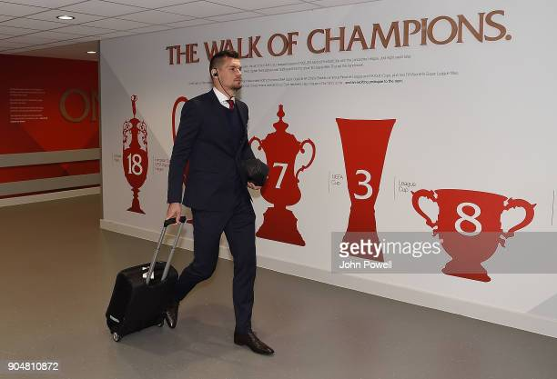 Dejan Lovren of Liverpool arrives for the Premier League match between Liverpool and Manchester City at Anfield on January 14 2018 in Liverpool...
