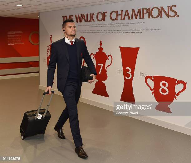 Dejan Lovren of Liverpool arriving before the Premier League match between Liverpool and Tottenham Hotspur at Anfield on February 4 2018 in Liverpool...
