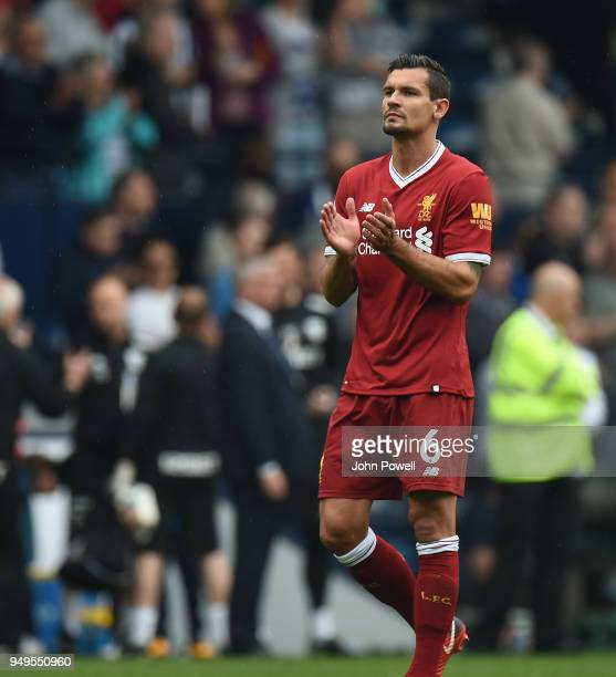 Dejan Lovren of Liverpool at the end of the Premier League match between West Bromwich Albion and Liverpool at The Hawthorns on April 21, 2018 in...