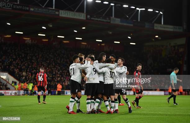 Dejan Lovren of Liverpool celebrates after scoring the second goal during the Premier League match between AFC Bournemouth and Liverpool at Vitality...