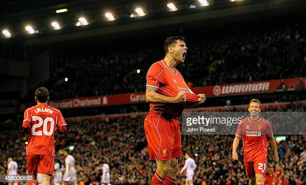 Dejan Lovren of Liverpool celebrates his goal during the Capital One Cup Fourth Round match between Liverpool and Swansea City at Anfield on October...