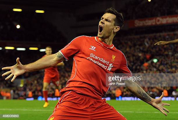 Dejan Lovren of Liverpool celebrates his winning goal during the Capital One Cup Fourth Round match between Liverpool and Swansea City at Anfield on...