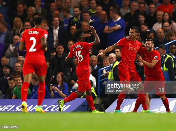 Dejan Lovren of Liverpool celebrates scoring his sides first goal with team his mates during the Premier League match between Chelsea and Liverpool...