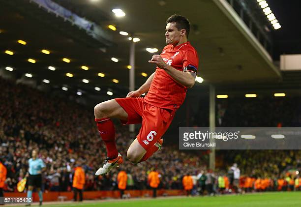 Dejan Lovren of Liverpool celebrates scoring his team's fourth goal during the UEFA Europa League quarter final, second leg match between Liverpool...