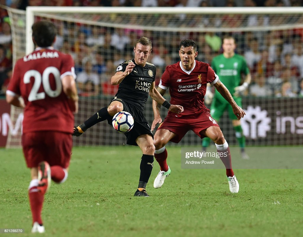 Dejan Lovren of Liverpool competes with Jamie Vardy of Leicester City during the Premier League Asia Trophy match between Liverpool FC and Leicester City FC at the Hong Kong Stadium on July 22, 2017 in Hong Kong, Hong Kong.