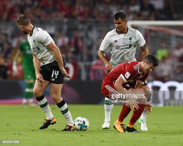 Dejan Lovren of Liverpool competes with Robert Lewandowski of Bayern Muenchen during the Audi Cup 2017 match between Bayern Muenchen and Liverpool FC...