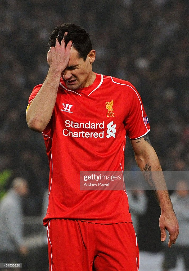 Dejan Lovren of Liverpool dejected after missing a penalty during the UEFA Europa League Round of 32 match between Besiktas JK and Liverpool FC on February 26, 2015 in Istanbul, Turkey.