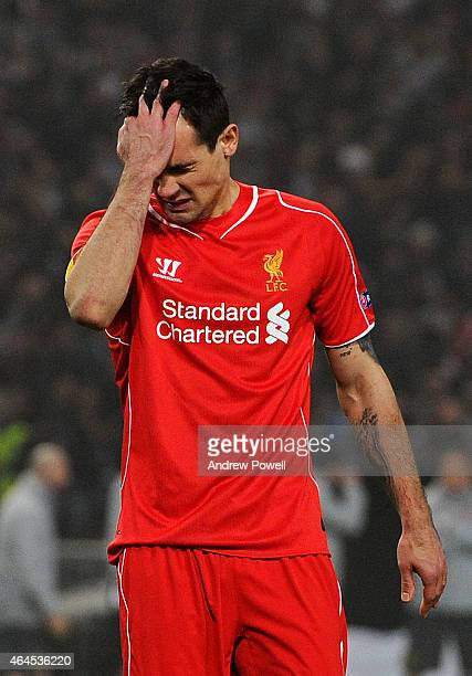 Dejan Lovren of Liverpool dejected after missing a penalty during the UEFA Europa League Round of 32 match between Besiktas JK and Liverpool FC on...