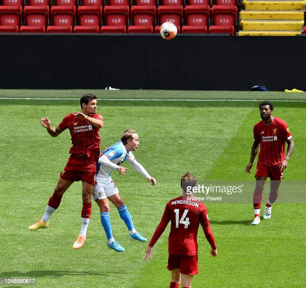 Dejan Lovren of Liverpool during a friendly match between Liverpool and Blackburn Rovers at Anfield on June 11 2020 in Liverpool England