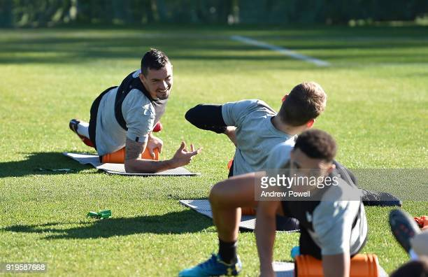 Dejan Lovren of Liverpool during a training session at Marbella Football Center on February 17 2018 in Marbella Spain