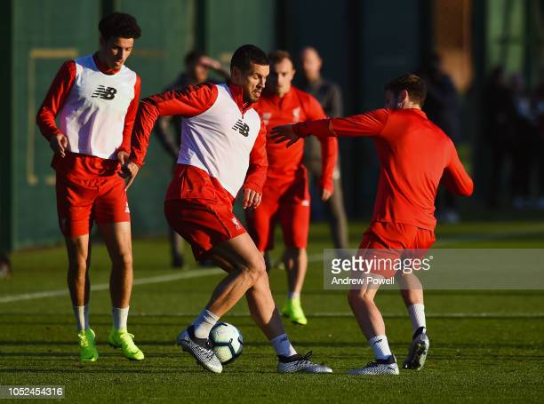 Dejan Lovren of Liverpool during a training session at Melwood Training Ground on October 18 2018 in Liverpool England