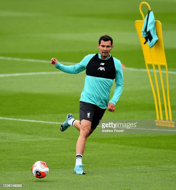 Dejan Lovren of Liverpool during a training session at Melwood Training Ground on May 24 2020 in Liverpool England