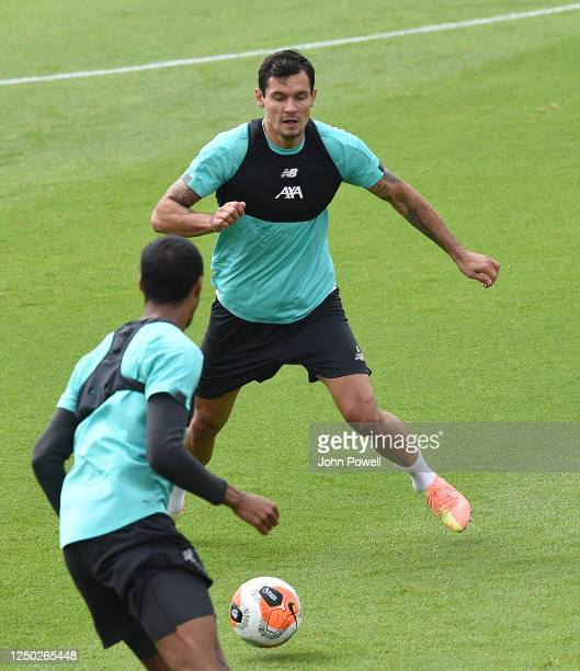 Dejan Lovren of Liverpool during a training session at Melwood Training Ground on June 17 2020 in Liverpool England