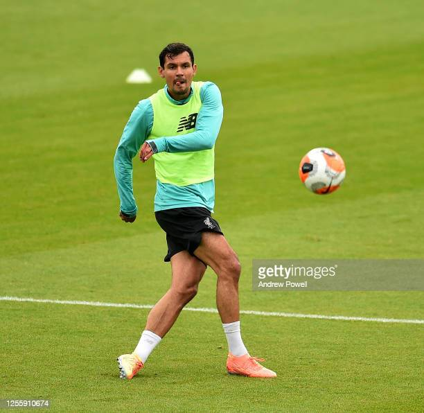 Dejan Lovren of Liverpool during a training session at Melwood Training Ground on July 13 2020 in Liverpool England