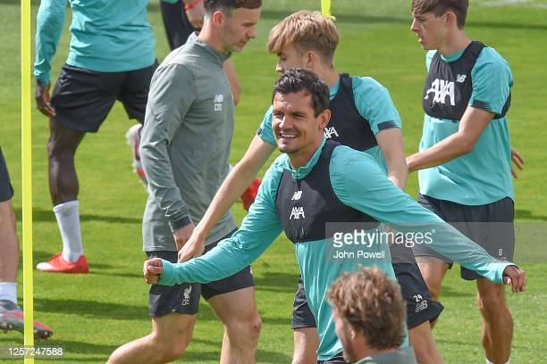 Dejan Lovren of Liverpool during a training session at Melwood Training Ground on July 20 2020 in Liverpool England