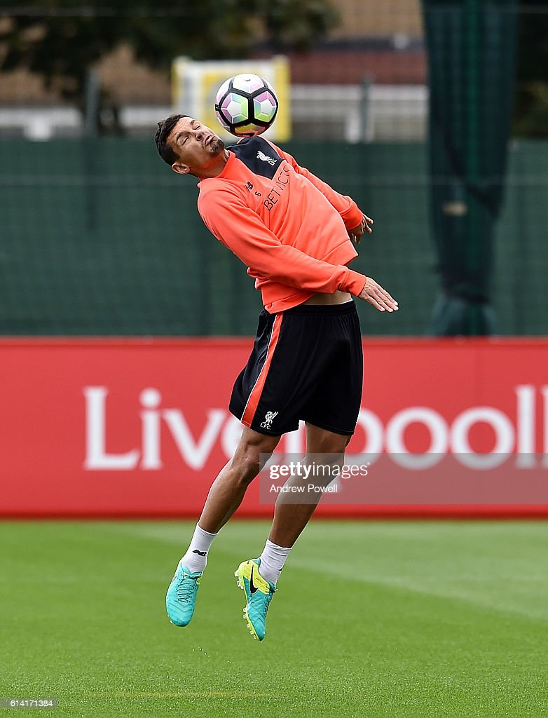 Dejan Lovren of Liverpool during a training session at Melwood Training Ground on October 12, 2016 in Liverpool, England.