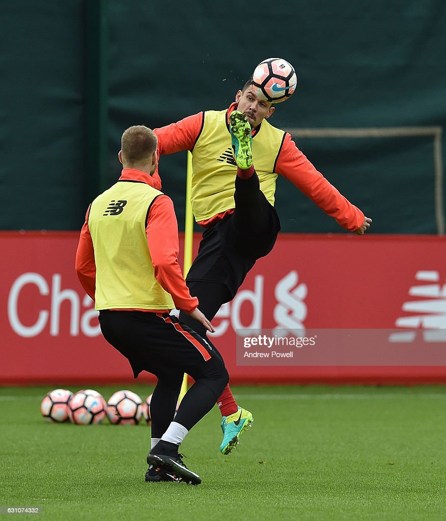 Dejan Lovren of Liverpool during a training session at Melwood Training Ground on January 6, 2017 in Liverpool, England.