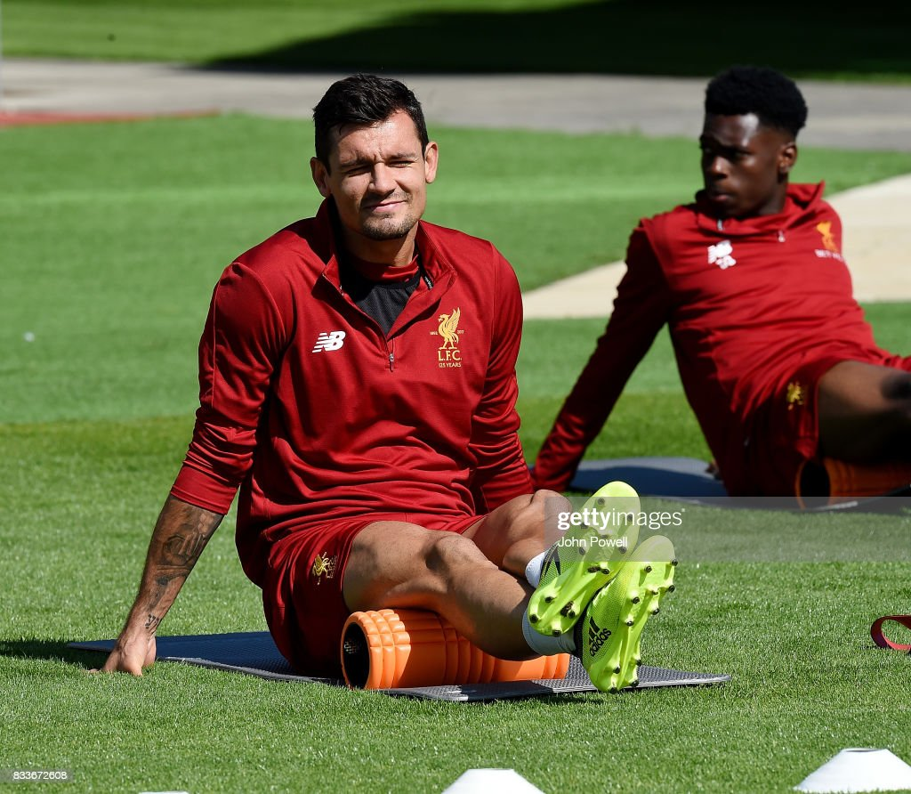 Dejan Lovren of Liverpool during a training session at Melwood Training Ground on August 17, 2017 in Liverpool, England.