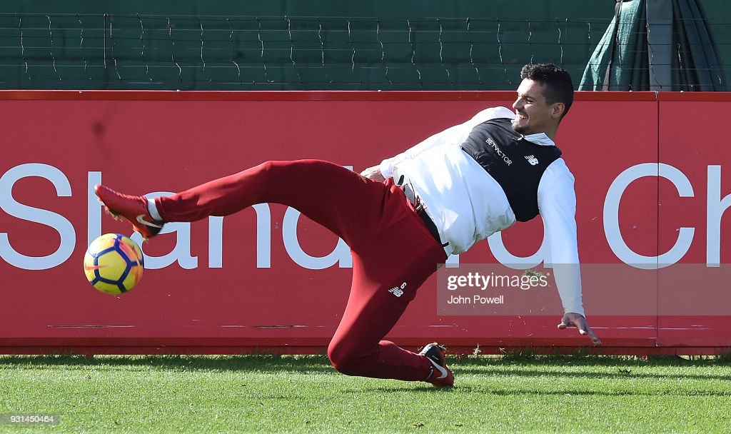 Dejan Lovren of Liverpool during a training session at Melwood Training Ground on March 13, 2018 in Liverpool, England.