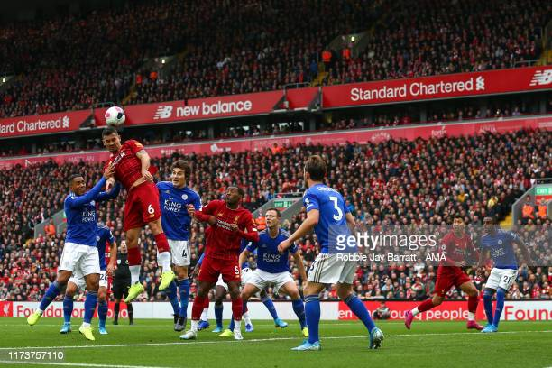 Dejan Lovren of Liverpool during the Premier League match between Liverpool FC and Leicester City at Anfield on October 5 2019 in Liverpool United...