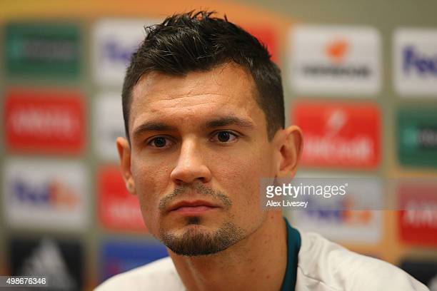 Dejan Lovren of Liverpool FC faces the media during a press conference at Melwood Training Complex on November 25 2015 in Liverpool United Kingdom