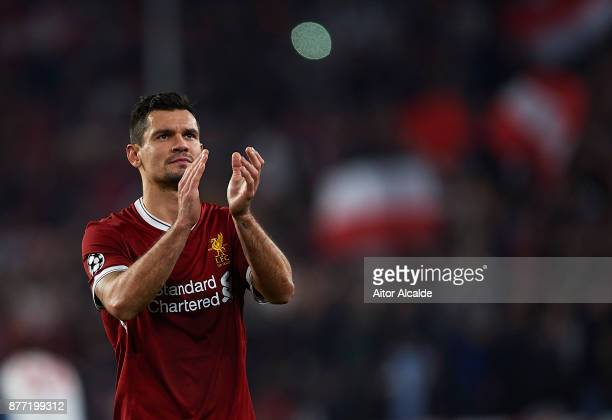Dejan Lovren of Liverpool FC waves to the fans after the end of the UEFA Champions League group E match between Sevilla FC and Liverpool FC at...