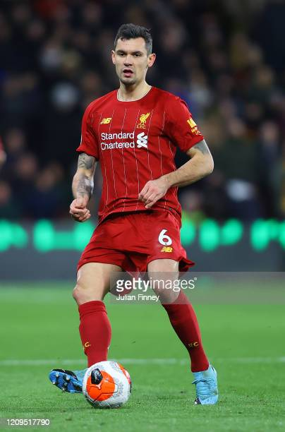 Dejan Lovren of Liverpool in action during the Premier League match between Watford FC and Liverpool FC at Vicarage Road on February 29, 2020 in...