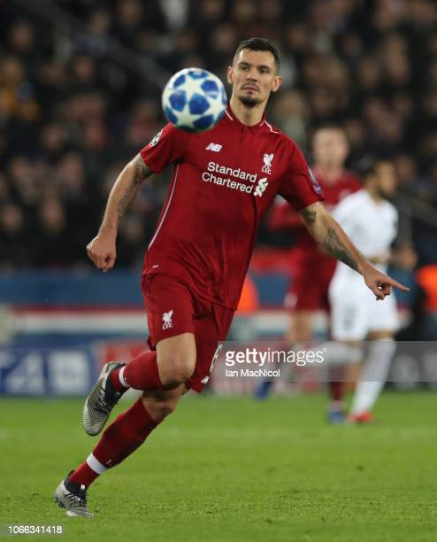 Dejan Lovren of Liverpool is seen in action during the Group C match of the UEFA Champions League between Paris SaintGermain and Liverpool at Parc...