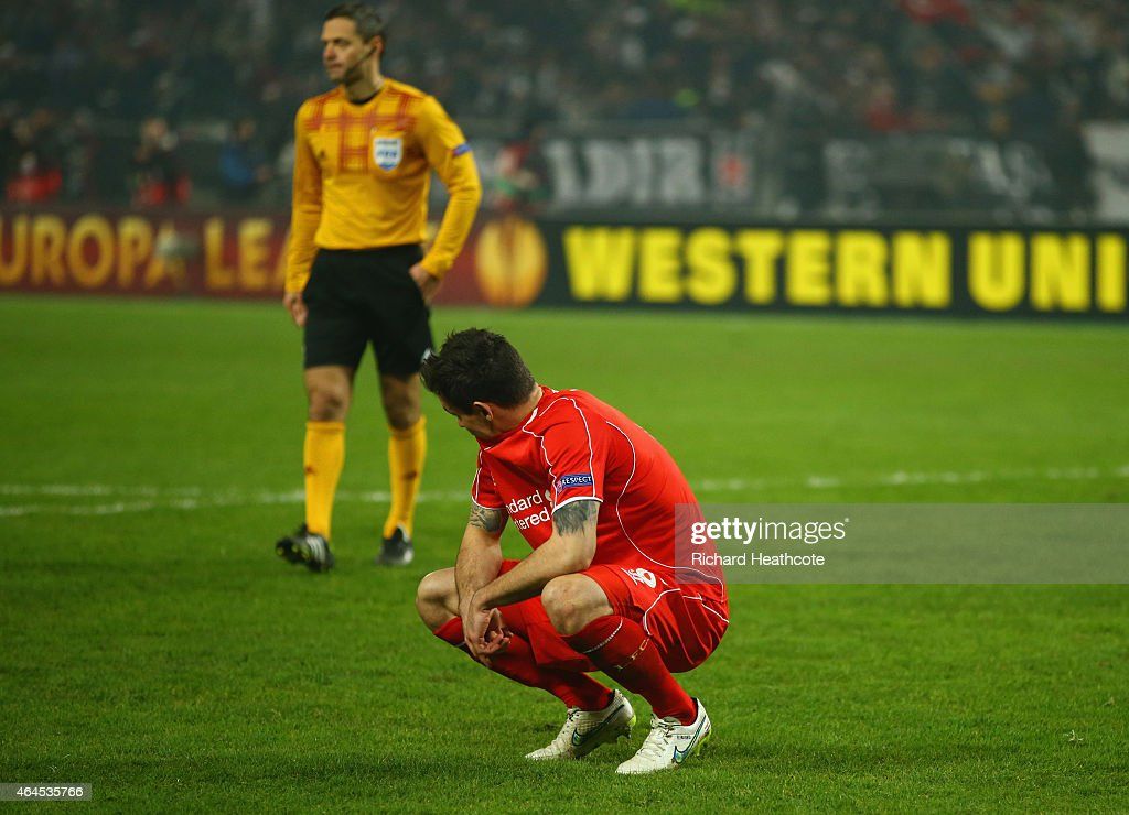 Dejan Lovren of Liverpool looks dejected as he misses the decisive kick in the penalty shoot out during the UEFA Europa League Round of 32 second leg match between Besiktas JK and Liverpool FC on February 26, 2015 in Istanbul, Turkey.