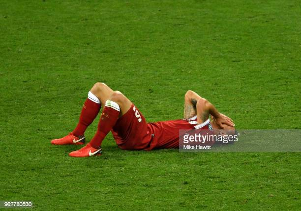 Dejan Lovren of Liverpool looks dejected following the UEFA Champions League Final between Real Madrid and Liverpool at NSC Olimpiyskiy Stadium on...