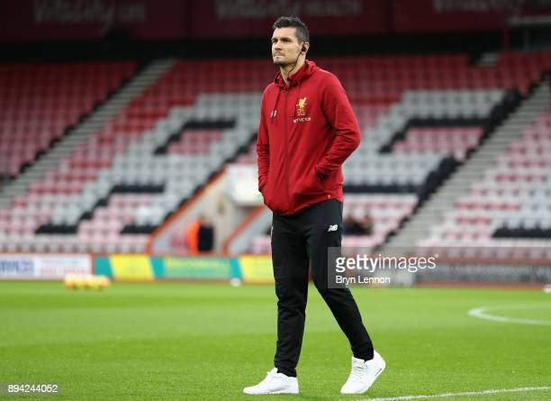 Dejan Lovren of Liverpool on the pitch before the warm up prior to the Premier League match between AFC Bournemouth and Liverpool at Vitality Stadium...
