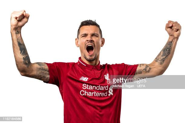 Dejan Lovren of Liverpool poses for a photo during the Liverpool FC UEFA Champions League Final Preview Portrait Shoot at Melwood Training Ground on...