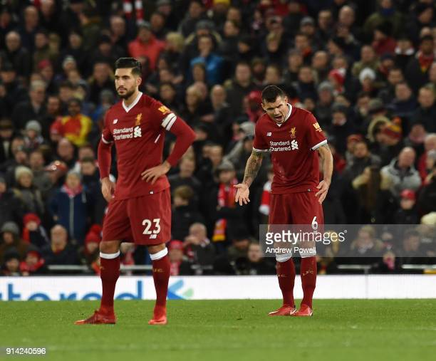 Dejan Lovren of Liverpool reacts after conceding during the Premier League match between Liverpool and Tottenham Hotspur at Anfield on February 4...