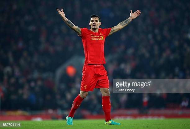 Dejan Lovren of Liverpool reacts during the EFL Cup Semi-Final Second Leg match between Liverpool and Southampton at Anfield on January 25, 2017 in...