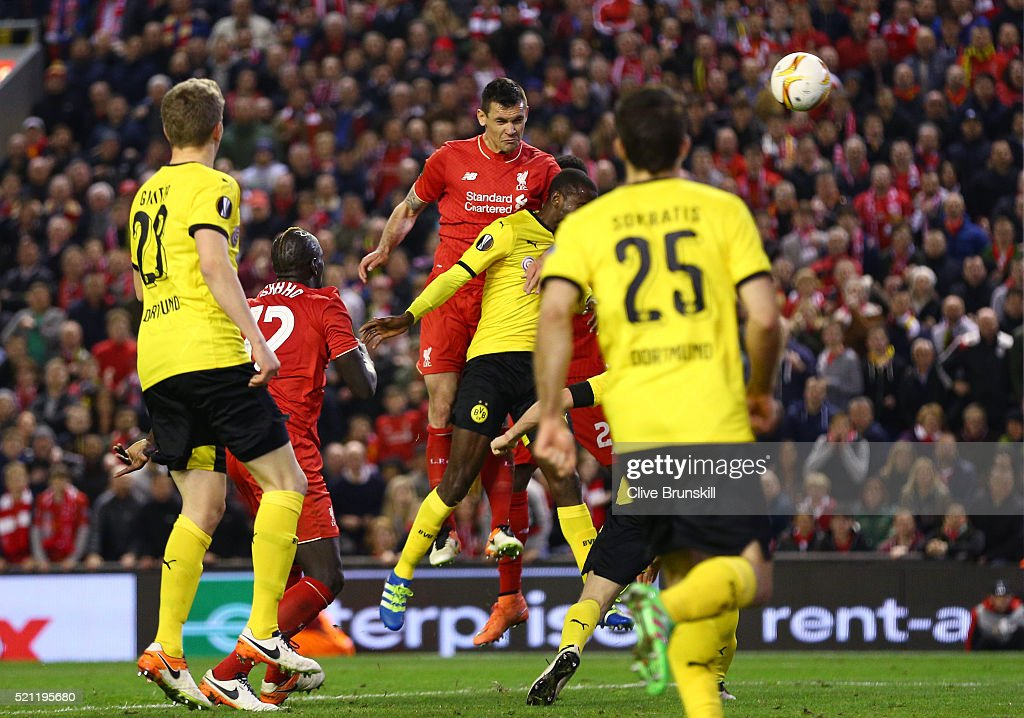 Dejan Lovren of Liverpool scores his team's fourth goal during the UEFA Europa League quarter final, second leg match between Liverpool and Borussia Dortmund at Anfield on April 14, 2016 in Liverpool, United Kingdom.