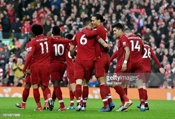 Dejan Lovren of Liverpool Scores the Opener during the Premier League match between Liverpool FC and Newcastle United at Anfield on December 26 2018...